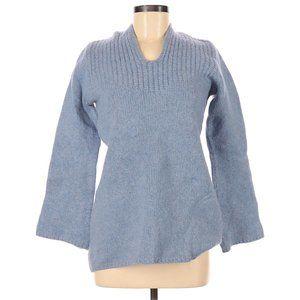 J.Crew Wool Pullover Sweater M Blue Hoodie Ribbed